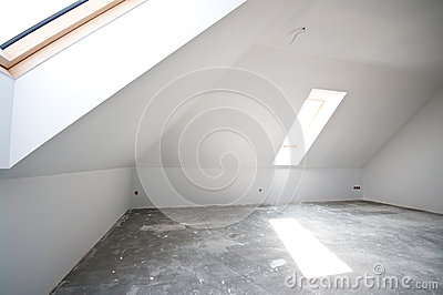 Empty attic or loft room