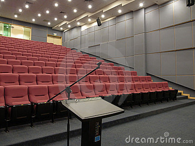 Empty Auditorium with Podium/Rostrum