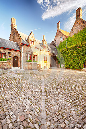 An empty back yard in Bruges, Belgium