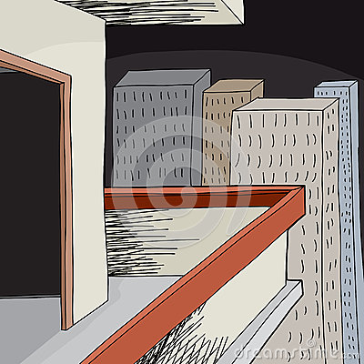 Empty balcony at night stock vector image 45389964 for Balcony cartoon