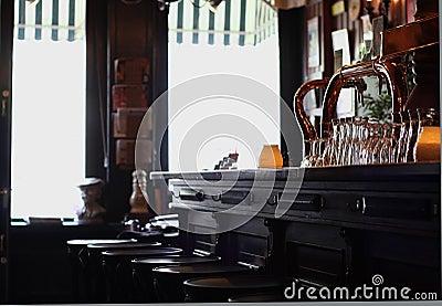 Empty bar stools