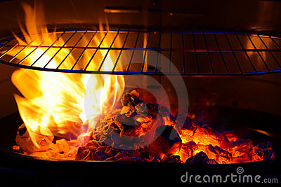 Empty Barbecue Grill with flame BBQ