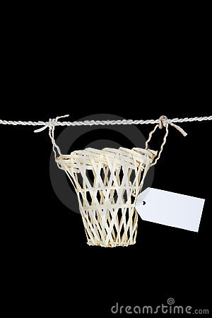 Empty basket with name tag