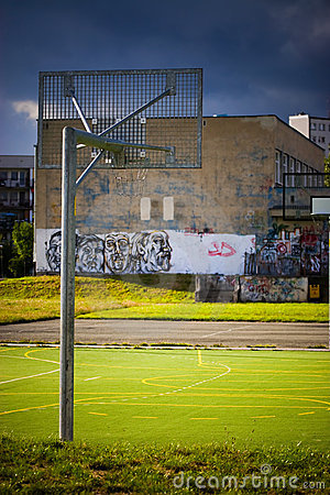 Empty basketball playground