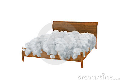 Empty bed in clouds