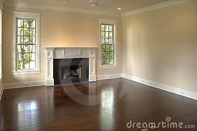 Empty bedroom with fireplace