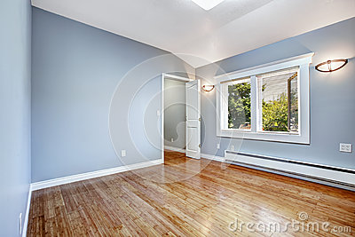 Empty Bedroom With Light Blue Walls Stock Photo Image