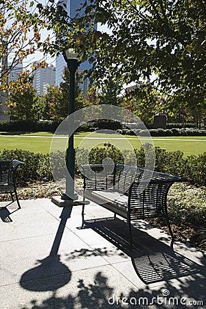 Free Empty Bench In Park In Atlanta, Georgia. Royalty Free Stock Photography - 2042397