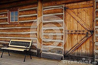 Empty Bench Log Cabin Door window