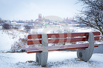 Empty bench at Wierzyca river in Poland