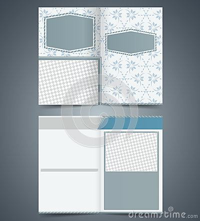 Empty bifold  brochure template design with patter