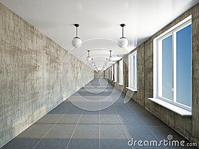 Empty big corridor with window