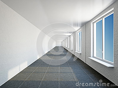 Empty big corridor with window