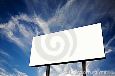 Empty Billboard and blue cloudscape