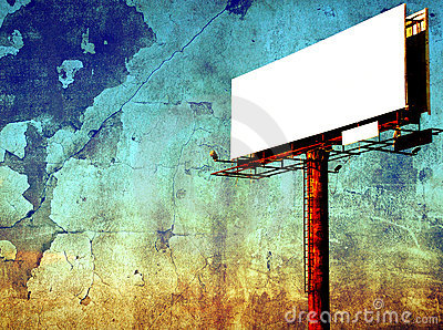 Empty billboard - signpost panel against grunge