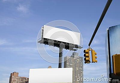 Empty billboards in city