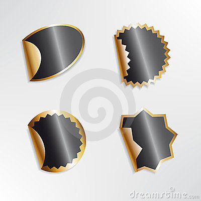 Empty black and gold stickers