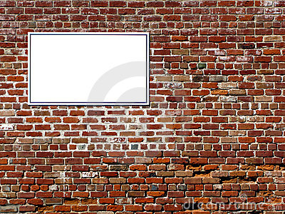 Empty Blank Copy Advertising Sign on Brick Wall