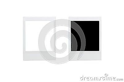 Empty blank polaroid photos