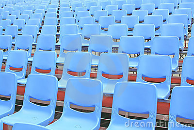 Empty Blue Bleachers