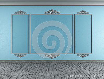 Empty blue classic room
