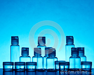 Empty blue glass bottles