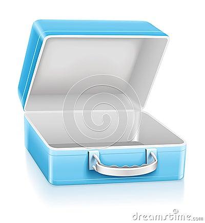 Empty blue lunch box