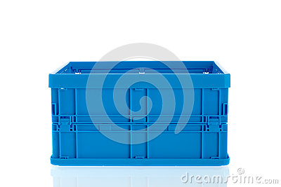 Blue plastic crate
