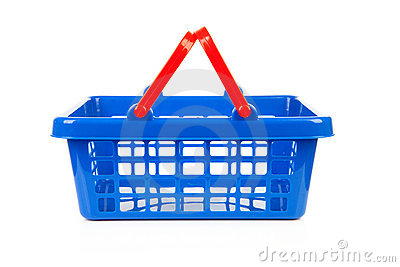 Empty blue shopping basket