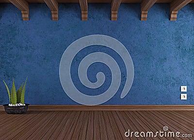 Empty blue vintage room