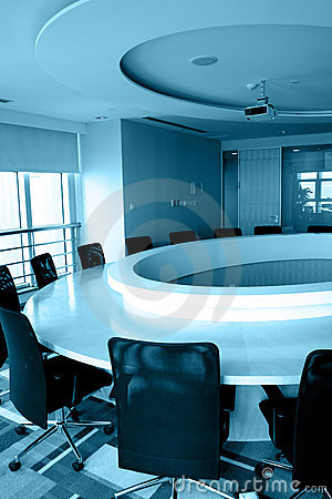 Empty boardroom with round table