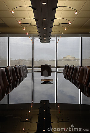 Free Empty Boardroom With Polished Reflective Table Royalty Free Stock Photography - 1932867