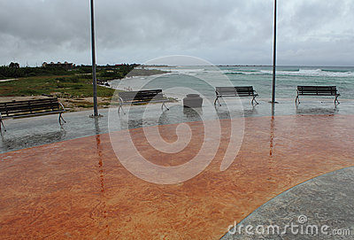 Empty boardwalk in Mahahual Hurricane Ernesto Editorial Stock Photo