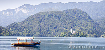 Empty boat on Bled lake