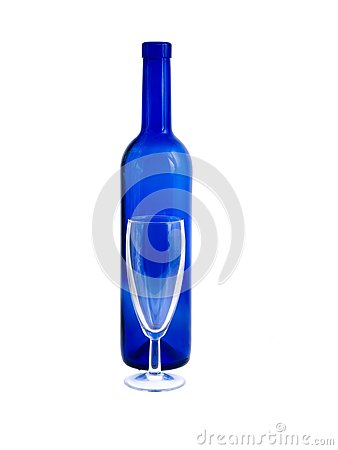 An empty bottle and wineglass isolated on white