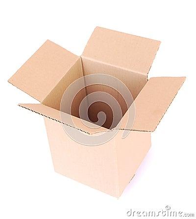 Box empty open on white