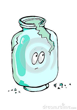 Empty broken glass jar