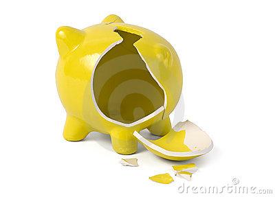 Empty broken piggybank