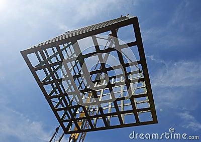 Empty cage on sky