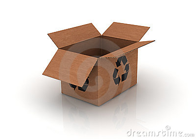 Empty cardboard with recycle symbol