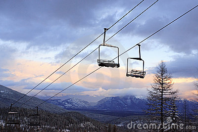 Empty Chair Lifts at a Ski Slope