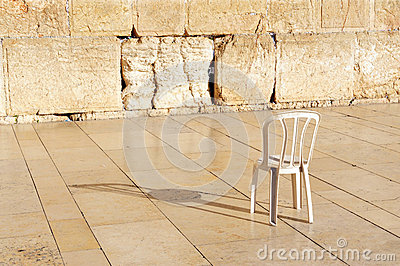 An empty chair at the Western Wall Jerusalem