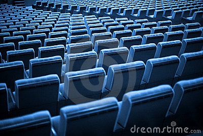 Empty Chairs. Blue Tone