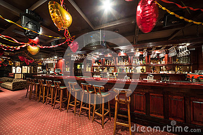 The empty chairs in Karaoke - Club PHARAOH with wooden chairs Editorial Photo