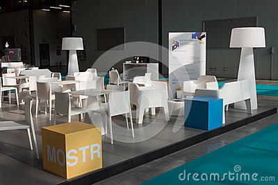 Empty chairs and lamps at Host 2013 in Milan, Italy Editorial Stock Image