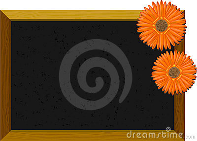 Empty chalkboard with flowers