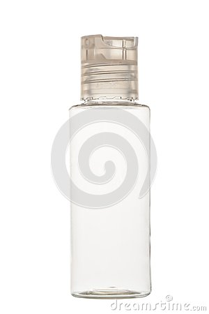 Empty clear plastic bottle for cosmetics