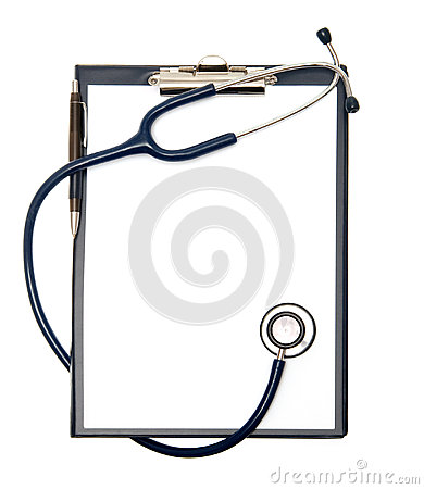Empty clipboard with a stethoscope