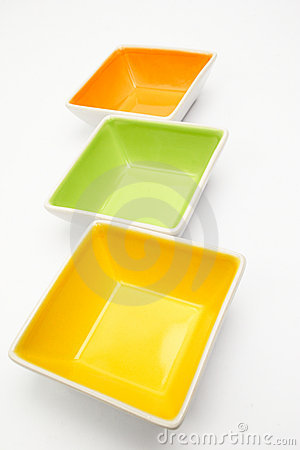 Empty Colorful Dishes on White