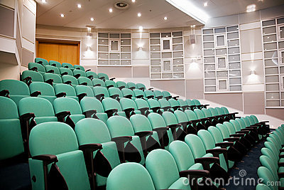 Empty conference hall, rows of a chairs